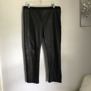 St John Luxe Leather Front Knit Back Pants Size 14